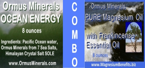 Ormus Minerals Combo Ocean Energy & PURE Magnesium Oil with Frankincense